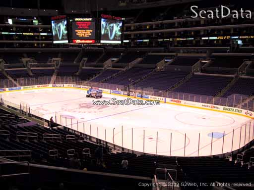 Seat view from Premier Section 1 at the Staples Center, home of the Los Angeles Kings