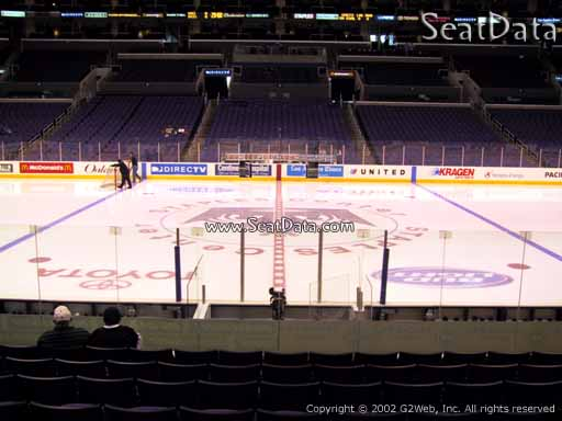 Seat view from section 101 at the Staples Center, home of the Los Angeles Kings
