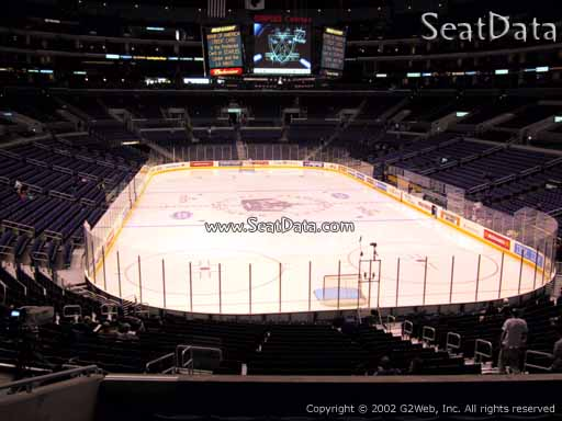 Seat view from section 208 at the Staples Center, home of the Los Angeles Kings