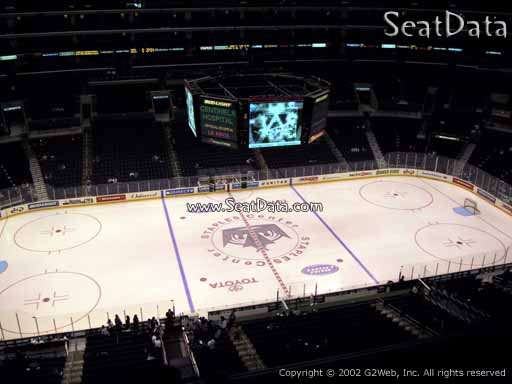 Seat view from section 302 at the Staples Center, home of the Los Angeles Kings