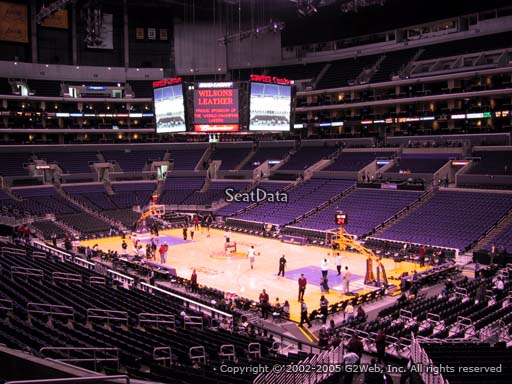 Seat view from premier section 1 at the Staples Center, home of the Los Angeles Lakers