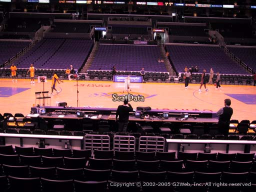 Seat view from section 101 at the Staples Center, home of the Los Angeles Lakers