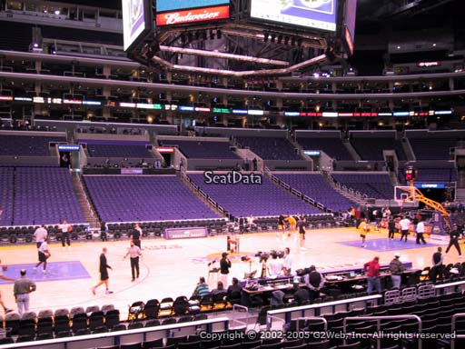 Seat view from section 102 at the Staples Center, home of the Los Angeles Lakers
