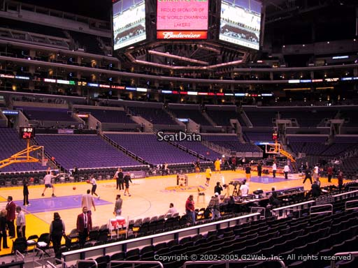 Seat view from section 103 at the Staples Center, home of the Los Angeles Lakers