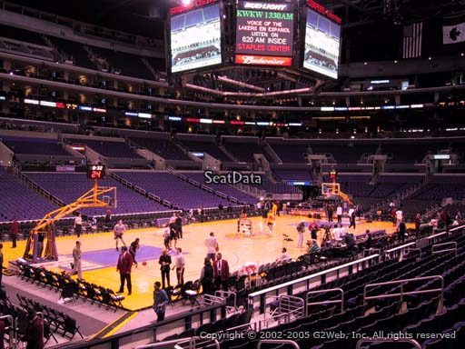 Seat view from section 104 at the Staples Center, home of the Los Angeles Lakers