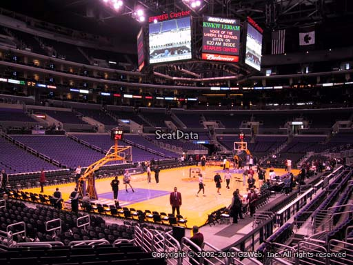 Seat view from section 105 at the Staples Center, home of the Los Angeles Lakers