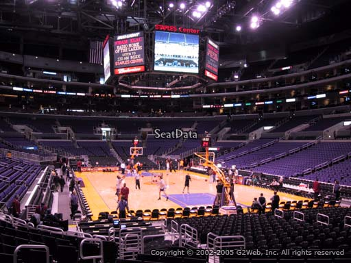 Seat view from section 107 at the Staples Center, home of the Los Angeles Lakers
