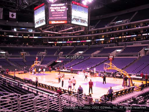 Seat view from section 108 at the Staples Center, home of the Los Angeles Lakers