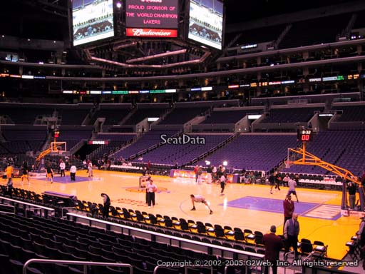 Seat view from section 109 at the Staples Center, home of the Los Angeles Lakers