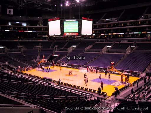 Seat view from premier section 11 at the Staples Center, home of the Los Angeles Lakers