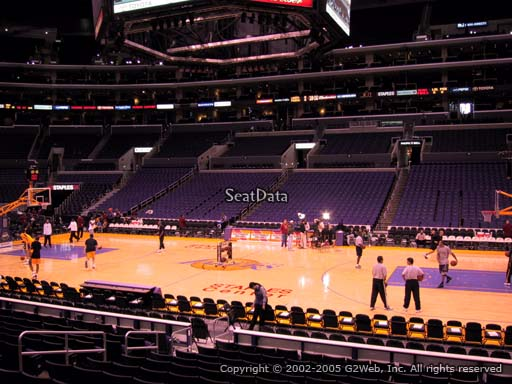 Seat view from section 110 at the Staples Center, home of the Los Angeles Lakers