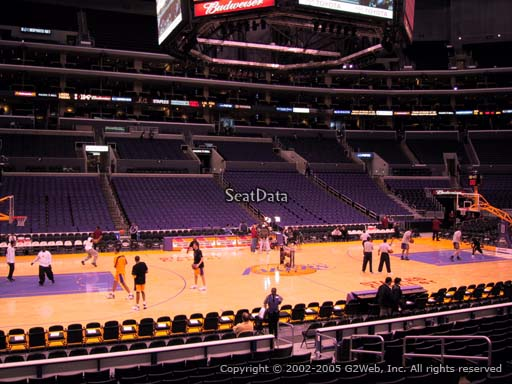 Seat view from section 112 at the Staples Center, home of the Los Angeles Lakers