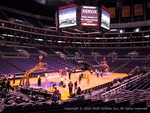 Seat view from section 114 at the Staples Center, home of the Los Angeles Lakers