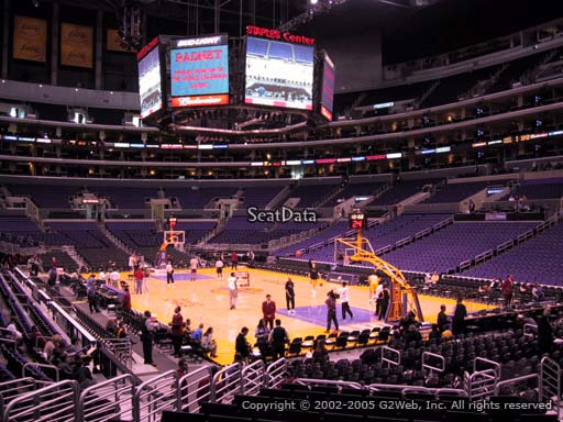 Seat view from section 117 at the Staples Center, home of the Los Angeles Lakers