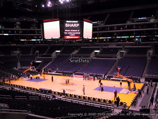 Seat view from premier section 12 at the Staples Center, home of the Los Angeles Lakers