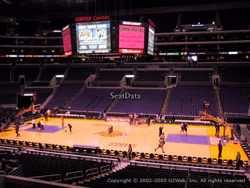 Seat view from premier section 13 at the Staples Center, home of the Los Angeles Lakers
