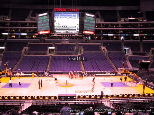 Seat view from premier section 14 at the Staples Center, home of the Los Angeles Lakers