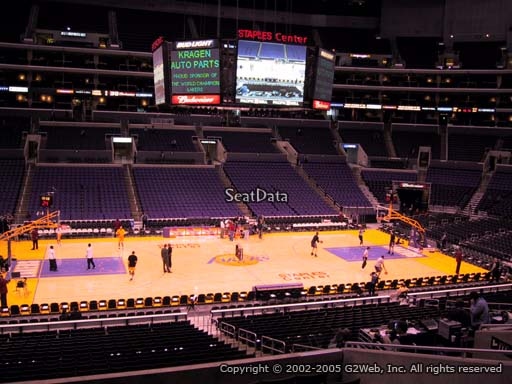 Seat view from premier section 15 at the Staples Center, home of the Los Angeles Lakers