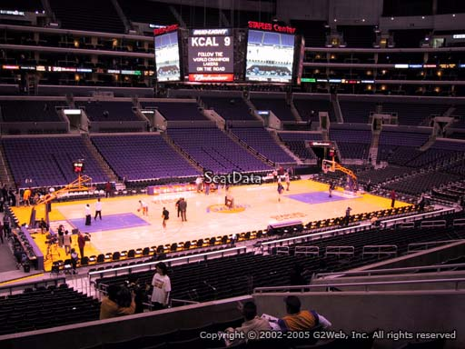 Seat view from premier section 16 at the Staples Center, home of the Los Angeles Lakers