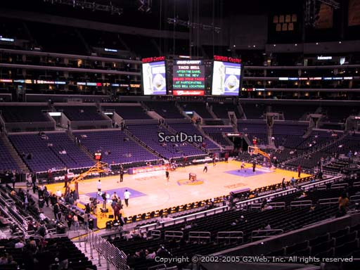 Seat view from premier section 17 at the Staples Center, home of the Los Angeles Lakers