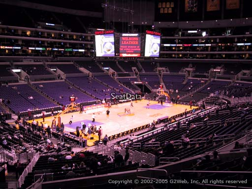 Seat view from premier section 18 at the Staples Center, home of the Los Angeles Lakers