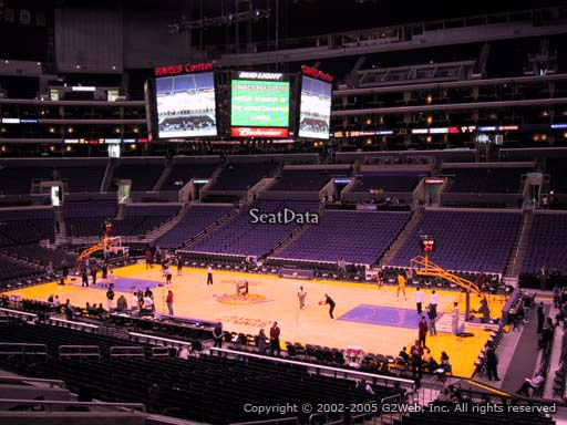 Seat view from premier section 3 at the Staples Center, home of the Los Angeles Lakers