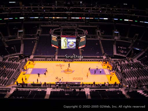 Seat view from section 301 at the Staples Center, home of the Los Angeles Lakers