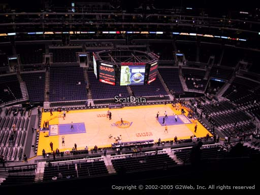 Seat view from section 302 at the Staples Center, home of the Los Angeles Lakers