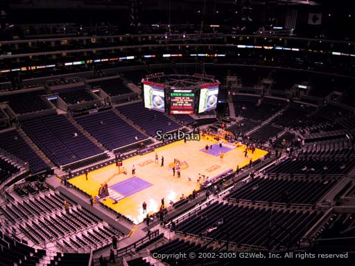 Seat view from section 305 at the Staples Center, home of the Los Angeles Lakers