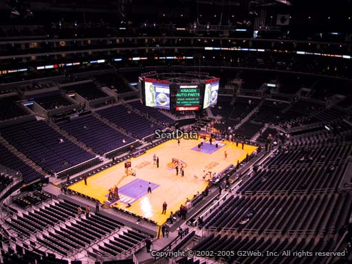 Seat view from section 306 at the Staples Center, home of the Los Angeles Lakers
