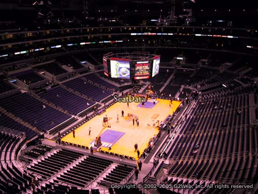 Seat view from section 307 at the Staples Center, home of the Los Angeles Lakers