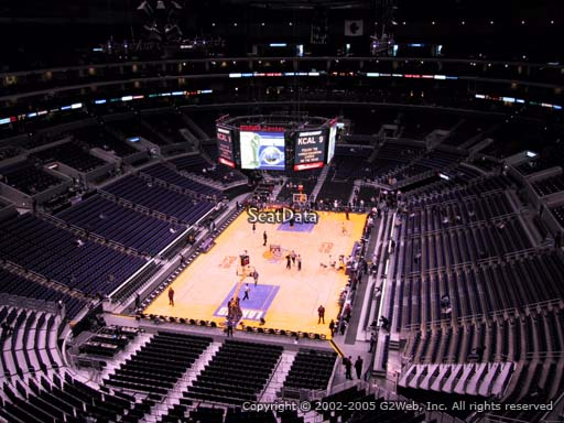 Seat view from section 308 at the Staples Center, home of the Los Angeles Lakers