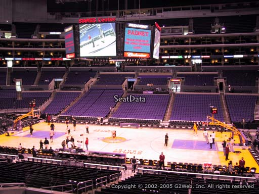 Seat view from premier section 4 at the Staples Center, home of the Los Angeles Lakers