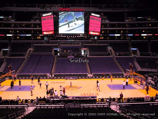 Seat view from premier section 5 at the Staples Center, home of the Los Angeles Lakers