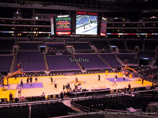 Seat view from premier section 6 at the Staples Center, home of the Los Angeles Lakers