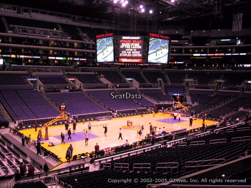Seat view from premier section 8 at the Staples Center, home of the Los Angeles Lakers