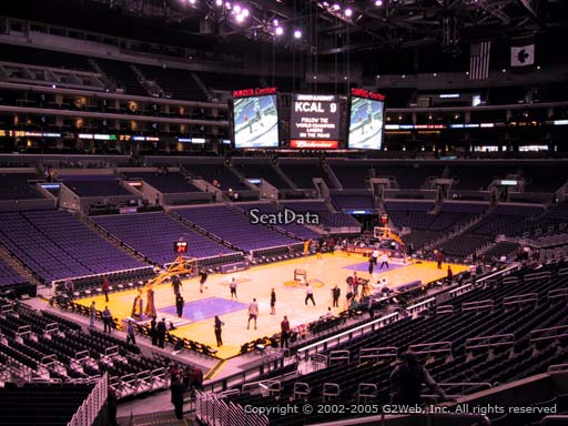 Seat view from premier section 9 at the Staples Center, home of the Los Angeles Lakers