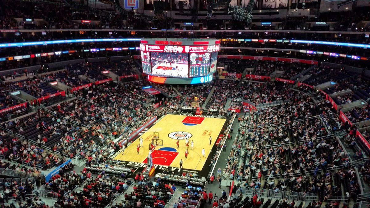 View of the Court from the Upper Level of the Staples Center during a Los Angeles Clippers Home Game