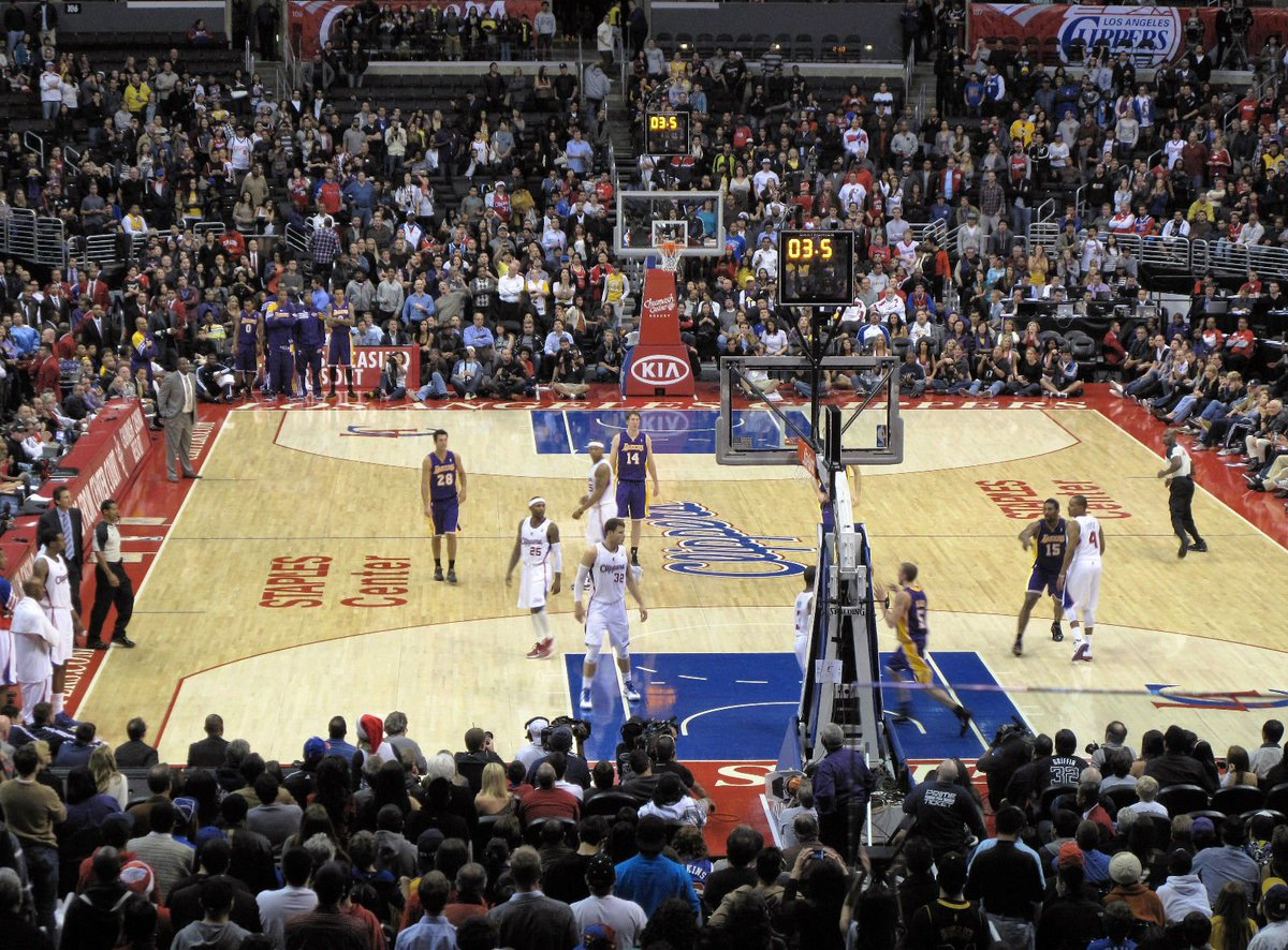 View of the Court from Section 217 during a Los Angeles Clippers home game at the Staples Center