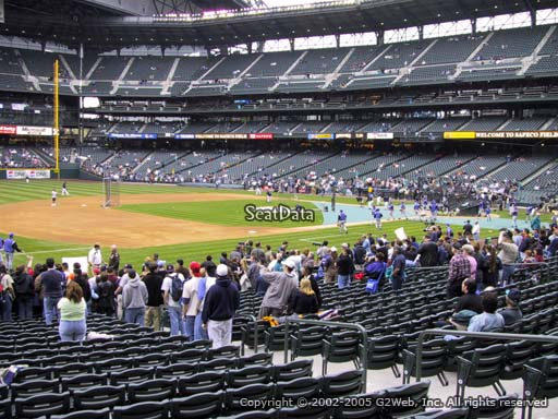Seat view from section 142 at Safeco Field, home of the Seattle Mariners