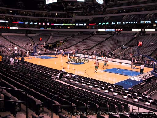 Seat view from section 104 at the American Airlines Center, home of the Dallas Mavericks