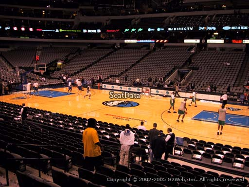 Seat view from section 105 at the American Airlines Center, home of the Dallas Mavericks