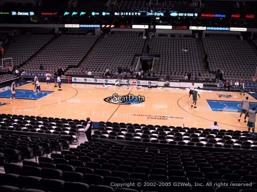 Seat view from section 106 at the American Airlines Center, home of the Dallas Mavericks