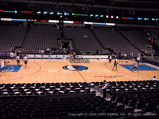 Seat view from section 107 at the American Airlines Center, home of the Dallas Mavericks