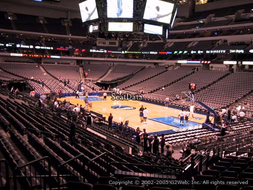Seat view from section 115 at the American Airlines Center, home of the Dallas Mavericks