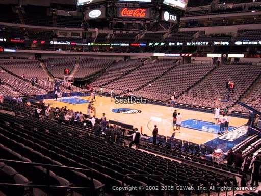 Seat view from section 116 at the American Airlines Center, home of the Dallas Mavericks