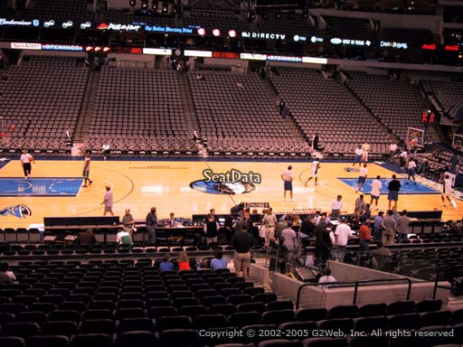 Seat view from section 119 at the American Airlines Center, home of the Dallas Mavericks