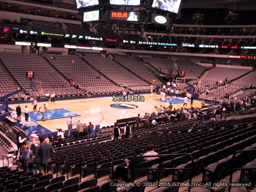 Seat view from section 121 at the American Airlines Center, home of the Dallas Mavericks