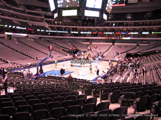 Seat view from section 123 at the American Airlines Center, home of the Dallas Mavericks