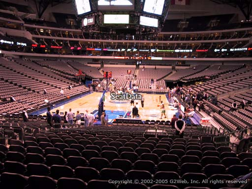 Seat view from section 124 at the American Airlines Center, home of the Dallas Mavericks